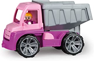 Lena 04451 TRUXX rosa tippare, fordon ca 27 cm, trucktruck med helt rörlig karaktär, robust tipplast, håla lutbar, leksaks...