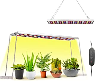 JCBritw 100W LED Grow Light with Stand White Red Blue Full Spectrum Growing Lamp Hanging Panel Dimmable with Timer Functio...