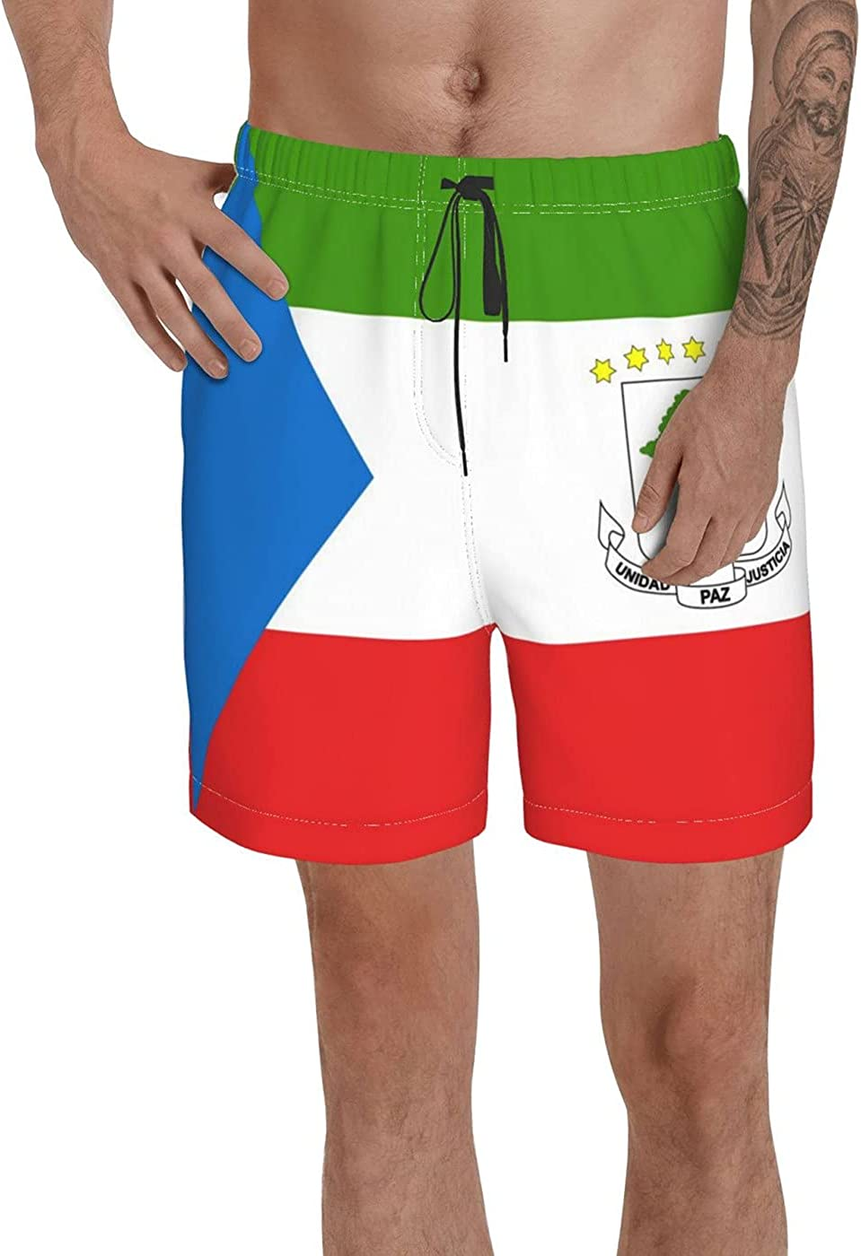 Count Equatorial Guinea Flag Men's 3D Printed Funny Summer Quick Dry Swim Short Board Shorts with