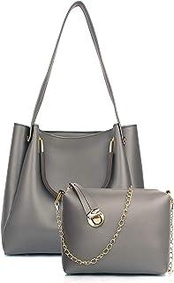 Mammon Women's Handbag With Sling Bag (Set of 2) (HS-R-bib-Grey_Grey)
