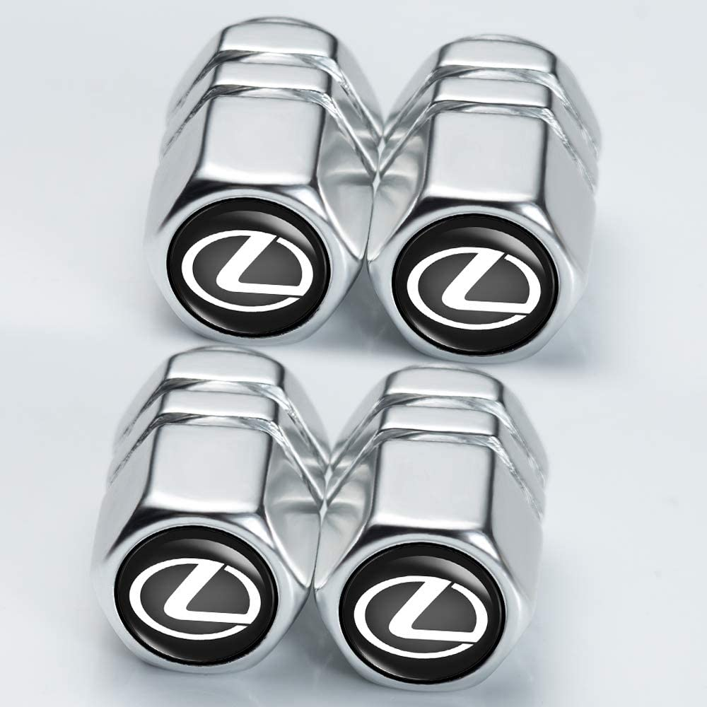 N//P Car Wheel Tire Air Valve Caps Stem Cover for Lexus Is300 Es350 Rx350 Ls460 Gx460 Gs300h Gs450h Ls430 Ls460 Nx200t RCF Valet Is250 Rx450 Logo Styling Decoration Accessories. 4 Pcs