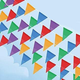 comprar comparacion Cookey 200 Pcs Multicolor Bandera Banderín, 100M Nylon Tela Decoraciones Banderas Para Fiesta Gran Apertura de Fiestas y P...