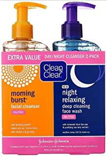 Clean & Clear 2-Pack Day and Night Face Cleanser Citrus Morning Burst Facial Cleanser with Vitamin C and Cucumber, Relaxing Night Facial Cleanser with Sea Minerals, Oil Free & Hypoallergenic Face Wash