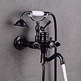 KEKEYANG baño Set de Ducha Grifo de la Ducha de Pared Simple Americana Agua Caliente y fría del Grifo pequeña Ducha Grifo de la Ducha de Agua de alimentación (Color: Negro) Ducha Sistema