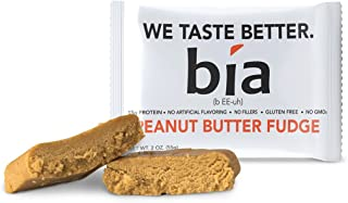 Bia Bar, Protein Bar, Non-GMO, Naturally Sweetened with Honey, Fiber, Meal Replacement, Protein Fudge, Simple Ingredients (55g Bar) (12 Bars, Peanut Butter Fudge)