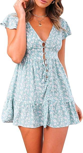 Gamisote Damen Minikleid Mit Blumenmuster V Ausschnitt Kurze Armel Boho Kleid Swingkleid Amazon De Bekleidung