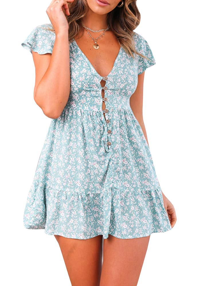 Available at Amazon: Valphsio Women's Boho V Neck Dress Floral Print Button Down A line Short Dresses with Ruffle Hem