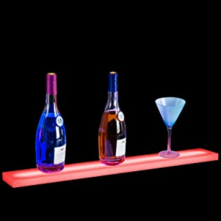 Nurxiovo 32 Inch LED Lighted Liquor Bottle Display Stand Floating Lighting Bar Shelf Illuminated Home and Commercial Bar Wall-Mounted Racks with RF Remote Control