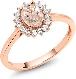 10K Rose Gold Peach Morganite and White Created Sapphire Women's Ring (0.89 Ct Oval, Available in size 5, 6, 7, 8, 9)