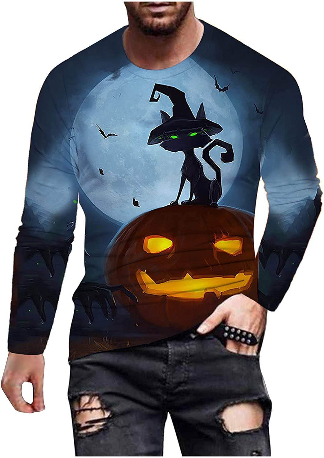 xoxing Halloween Shirts for Men Casual Autumn Winter Crew Neck Long Sleeve Tops 3D Digital Printed Loose Blouse Pullover