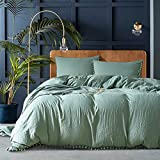 AiMay 3 Piece Duvet Cover Set Queen Size Green Bedding Sets Really Super Soft Double Stone-Washed Brushed Microfiber Ball Fringe Pattern Bed Collection Cute Breathabe Skin-Friendly (Sage Green, Queen)