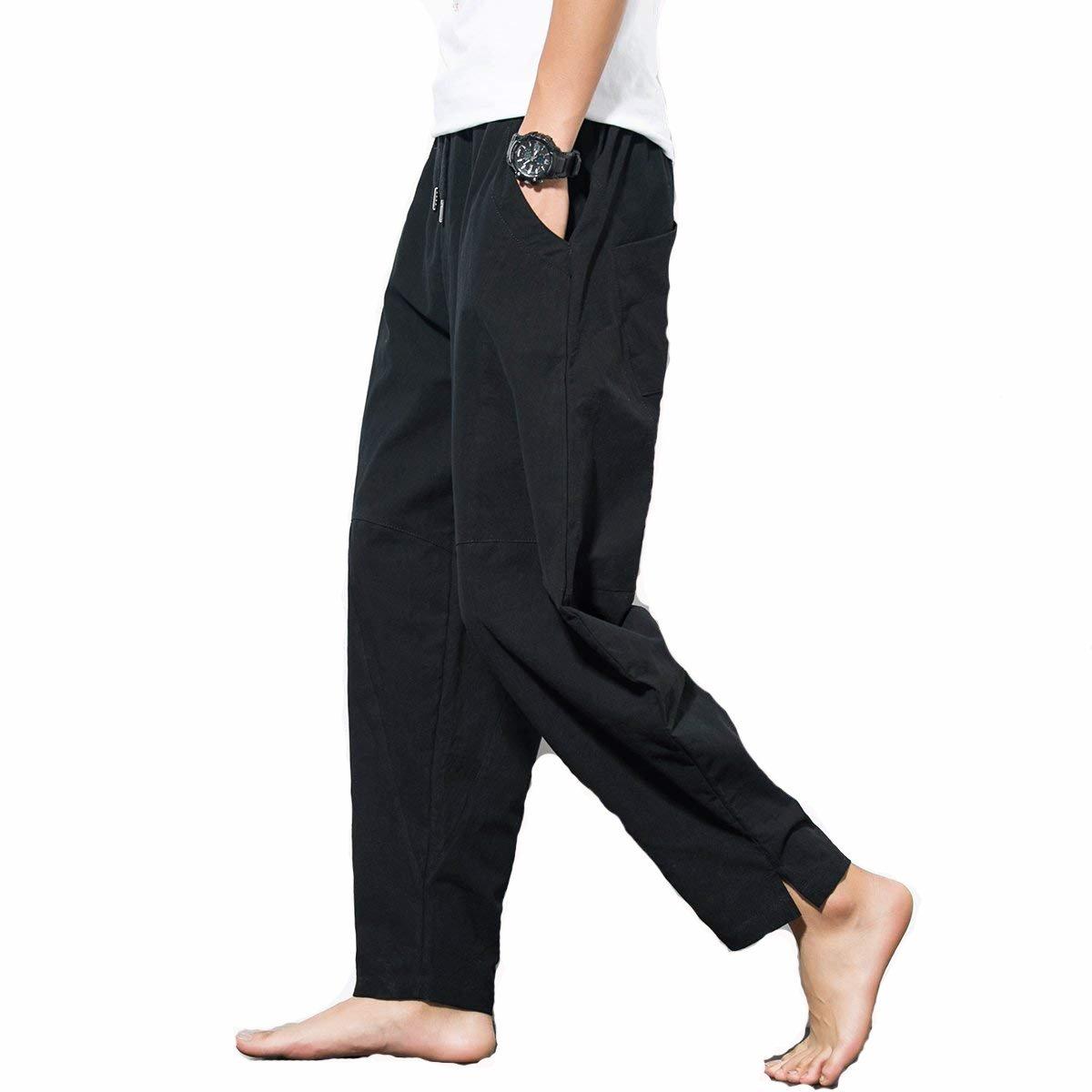 Homme Pantalon en Mélange Coton Lin Coupe Large Décontracté Léger,Homme Confortable Jogging Pantalon En Lin Avec Taille Élastique Homme Été Pantalon Décontracté en Lin Loisir Respirant Pantalon