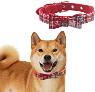 JIATECCO Christmas Dog Collar Leather Plaid Style Snowflake Pattern Bowtie Collar for Doggy Doggies Small Breed, Red