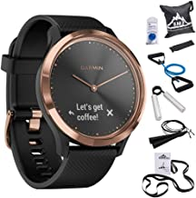 Garmin 010-01850-16 Vivomove HR,Sport Smartwatch Rose Gold w/Black Silicone Band (Small/Medium) + 7-Piece Fitness Kit