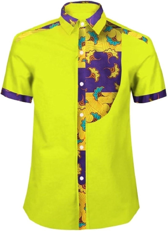 Winwinus Men T Shirts Batik African Print Dashiki Tops Button-Down-Shirts