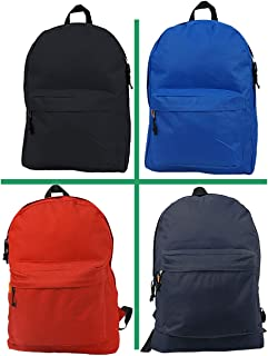 Wholesale Classic Backpack 18 inch Basic Bookbag Padded Back Bulk Cheap Simple Schoolbag Promotional Backpacks Low Price Non Profit Giveaway Student School Daypack 3 Assort Color Case Lot 30pcs