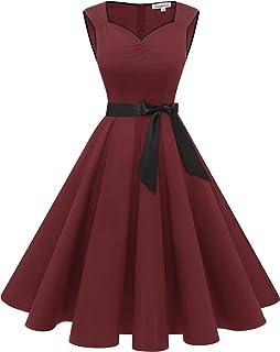 Gardenwed Damen 50S Retro Cocktailkleid Rockabilly Retro Schwingen Kleid Faltenrock A-Line Petticoat…
