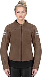 Viking Cycle Vintage Bikers Brown Cowhide Leather Motorcycle Jacket for Women