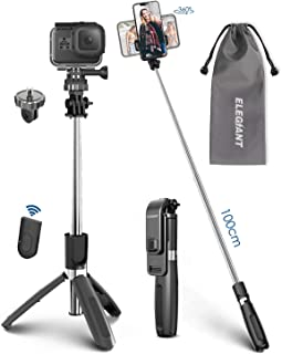 ELEGIANT Selfie Stick Tripod, 39.4 Inch Extendable Selfie Stick Tripod Stand with Wireless Remote Compatible with iPhone 11 11PRO XS Max XS XR X 8P 7P, Galaxy S20 S10 S9 S8, Gopro, Small Camera