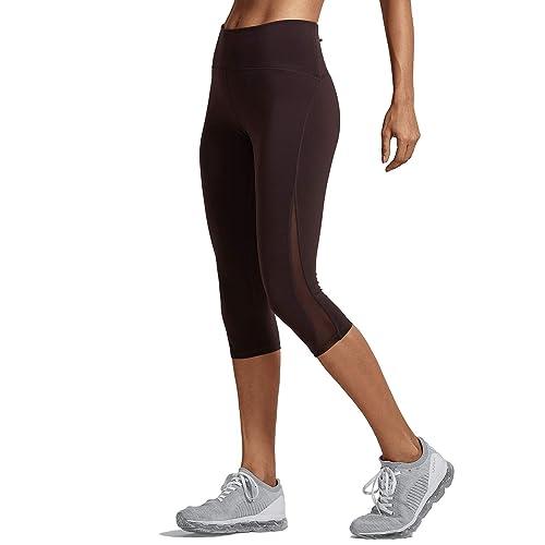 f79c84995 CRZ YOGA Women's High Waist Squat-Proof Capri Cropped Mesh Workout Leggings  with Pocket