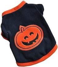 Ninasill Pet Apparel, ღ ღ Dog Puppy T-Shirts Fleece Warm Clothes Cute Halloween Pumpkin (L, Navy)