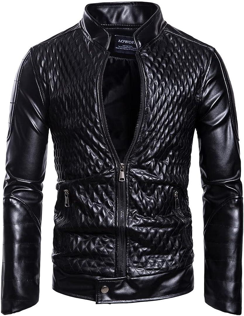 Men's Leather Outdoor Trend Locomotive Pure Color Comfortable Coat Leather Jacket