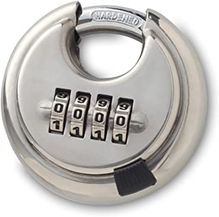 Mergood S304 Stainless Steel 4 Digit Combination Disc Padlock With Hardened Steel Shackle Silver Lock