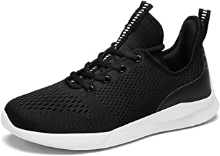 XUJW-Shoes, Fashion Sneakers for Men Low Top Walking Sport Shoes Elastic Casual Lace Up Mesh Round Toe Anti-Slip Breathable Lightweight Durable Travel Classic Soft (Color : Black, Size : 8 UK)