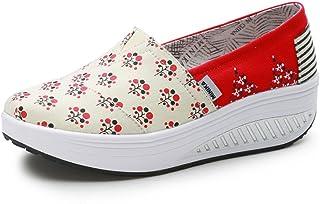 Zapato de Moda Compensado Sin Cordones Lienzo Zapatillas Creepers Punk Moda Resistencia 35-40(Recomendar tamaño uno más)