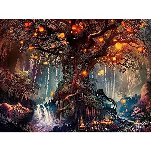 Magic Tree Diamond Painting Light geheimzinnige boom puzzel kruissteek diamant borduurwerk mozaïek kruissteek decoratie souvenir diamanttekening vierkante boormachine diamanttekening 30 cm * 40 cm cool