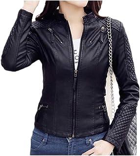 Mfacisa Womens Silm Fit PU de Cuero de Imitacion de OL Stand up Collar Faux Leather Jackets