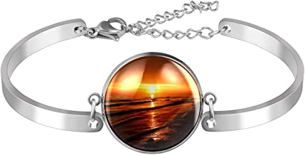 Verstelbare armband unieke Beach Sunset voor vrouwen Roestvrij staal