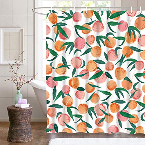 DELIBEST Pfirsich-Duschvorhänge, 100 prozent Polyester, süßes helles Design, wasserdicht, Vorhang-Set, mit 12 Haken, 72 × 72 cm