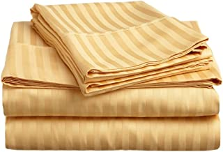 Superior 300 Thread Count 100% Premium Combed Cotton, 4-Piece Bed Sheet Set, Deep Pocket, Single Ply, Sateen Stripe, King - Gold