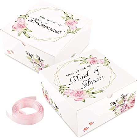 Moretoes 10pcs Bridesmaid Proposal Boxes with Ribbon, 2 Maid of Honor Boxes and 8 Will You Be My Bridesmaid Boxes for Bridesmaid Gifts