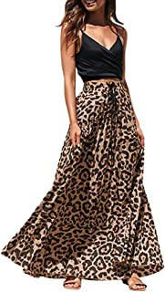 Fankle Women's Skirt Vintage Leopard Print High Waist A-Line Drawstring Pleated Bohemian Maxi Skirts