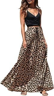 Womens Print Band Skirt Drawstring High Waisted Bohemian Maxi Skir
