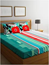 Portico New York Marvella 144 TC Cotton Bedsheet with 2 Pillow Covers - Abstract, Bed Linen Queen Size, 8044261 -Multicolor