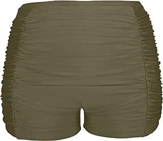 Yonique Womens Plus Size Swim Shorts High Waisted Bikini Tankini Bottom Ruched Tummy Control Boardshorts