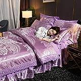 Bedding-LZ Juegos de sábanas de 90,Falda de Cama, Juego de Cuatro Piezas de Seda, algodón, algodón, Cama Doble, Ropa de Cama Individual para Matrimonio-J_Cama de 1,8 m (4 Piezas)