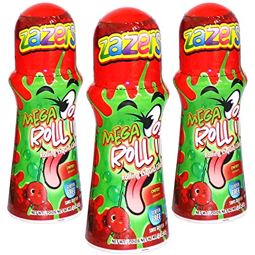 Zazers Mega Licker Candy Sour Rolling Liquid Licker Candy - 3 Pack of 2.03 OZ Roll-It Bottles - Gluten-Free and No Coloring Added, (Kosher NET WT 6.6 OZ, 180ml ) (Cherry)