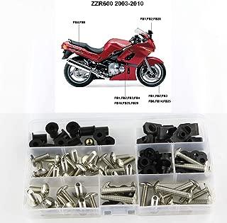 Xitomer Complete Fairing Bolts, for Kawasaki ZZR600 2003 2004 2005 2006 2007 2008, Full Set Bodywork Screws/Fastenings/Mounting Kits (Silver)