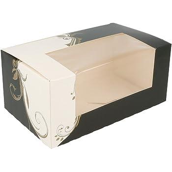 García de Pou Cajas Pastelería con Ventana 275 G/M2, 18 x 11 x 8 cm, Set de 50, Blanco, Cartón, 11 x 18 x 8 cm: Amazon.es: Hogar