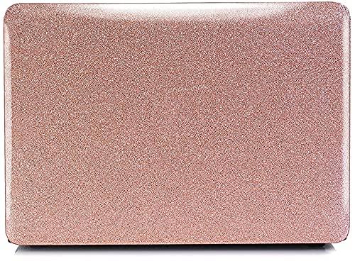 Funda para portátil con Purpurina Compatible con MacBook Air de 13 Pulgadas con Retina Touch ID Release 2021 2020 2019 2018 A2337 M1 A2179 A1932,YXUAN Estuche rígido de plástico - Oro Rosa Brillante