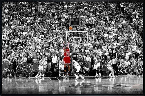 Michael Jordan Poster Last Shot 1998 Colorized (62x93 cm) gerahmt in: Rahmen schwarz