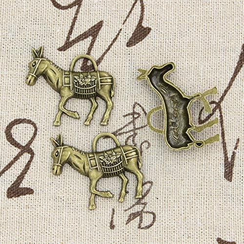 WANM 4Pcs Charms Donkey Burro 33X30Mm Antike Herstellung Anhänger Fit Vintage Tibetan Bronze Silber Farbe DIY Handmade Schmuck Legierung Anhänger