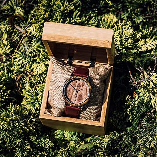 Holzuhr Damen - Armbanduhr aus Walnuss Holzuhr- Analoge Damen Quarzuhr mit Rot Lederarmband - Ø 40mm - Zero Waste Verpackung aus Naturholz