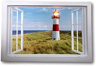 BANBERRY DESIGNS Lighthouse Canvas Print - LED Lighted Picture with a Window Scene Lake Beach - Nautical Artwork