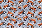 Allis Chalmers Tractor Fabric, Tractors All-Over with Watermark Logos, Gray, Sold by The Yard