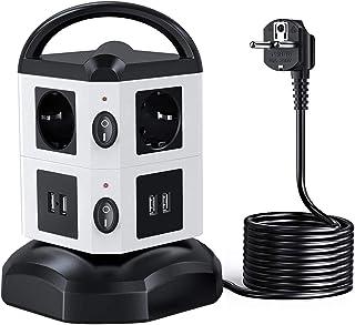 Regleta Vertical Enchufes de 6 Tomas Corrientes, 4 USB Tomas, Cable Extensible de 3 M con Función de Almacenamiento, Prote...